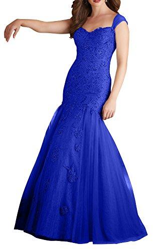 Charmant Meerjungfrau Royal Lang Langes Blau Spitze Neu Ballkleider Abiballkleider Grau Abendkleider Damen 2018 OqHrwO