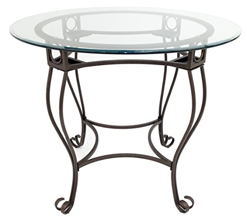 Impacterra Malaga Gathering Table, Bronze/Clear Glass, Bar Height (Table Round Gathering Glass)