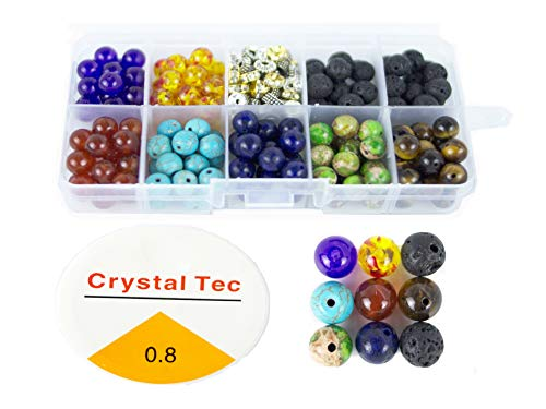 - 260 Pcs 8mm Colorful Seven Chakra Energy Beads(Includes 8 Different Chakra Beads and 4 Different Isolation Beads).for The Production of Bracelets and Necklaces.Send 11m Elastic Rope a roll.