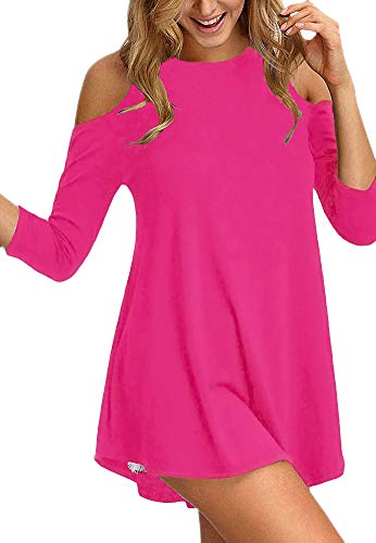 Afibi Womens Cold Shoulder Half Sleeve Swing Tunic Tops for Leggings (Small, Coral)