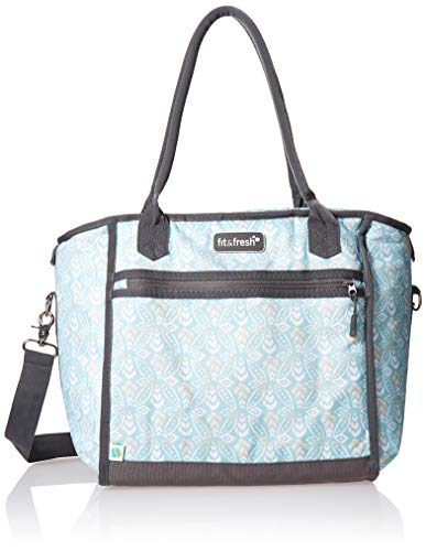 Fit & Fresh Day Trip Insulated, High Performance, Soft Cooler Bag with Leak Proof Foil Liner, Multi-Layer Insulation and Radiant Barrier, Large 30-Can Capacity, Aqua