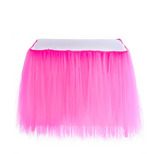 Table Skirt | 1 Yard Tutu Tulle Table Skirting Cover for Wedding, Birthday, Baby Shower, Slumber Party, Girl Princess, Home Decoration, Party Supplies (Hot Pink)