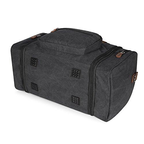 Plambag Oversized Canvas Duffle Bag 50L Tote Travel Weekend Luggage Gym Bag Dark Grey