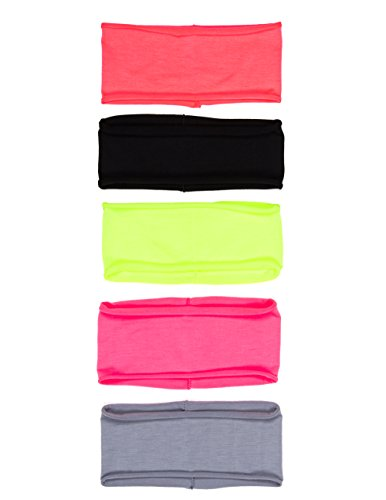 "10 PACK: Single Layer Cotton Spandex 4.5"" Raw Edge Sports & Yoga Headband"