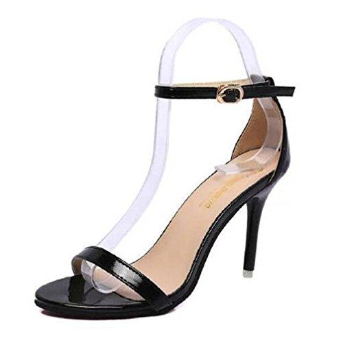 Linglongniao Mujer zapatos con correa negro
