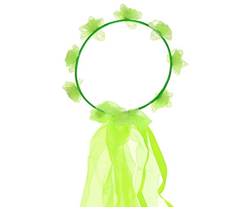 Mozlly Green Flower Crown 7 Inch Halloween Ballerina Dress Up Fairy Princess Hair Decor - Headpiece Costume Accessory -