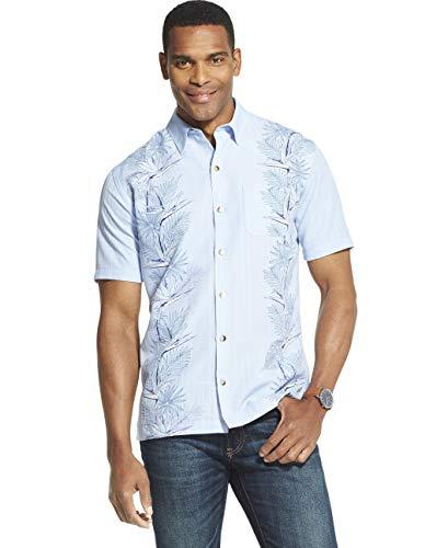 Van Heusen Men's Air Tropical Short Sleeve Button Down Poly Rayon Shirt, Blue Ice, Large
