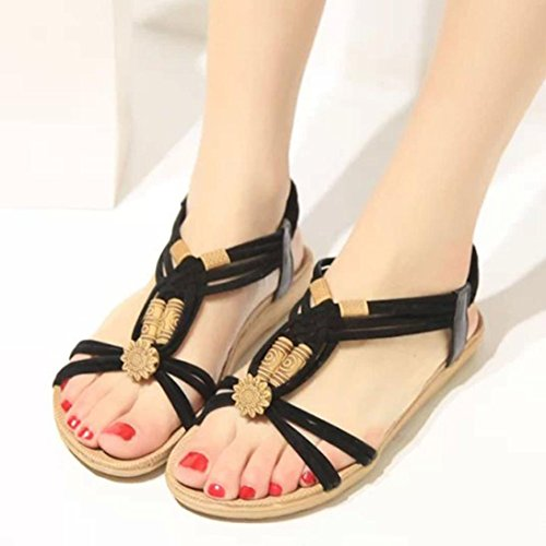 Transer® Ladies Summer Sweet Beaded Flat Sandals Fashion Women Comfortable Casual Sandals Beach Shoes Black cyHsL9pc