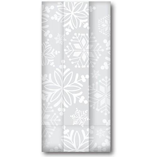 Jillson & Roberts Large Cello Bags with Twist Ties, Sparkle Snow by Jillson Roberts