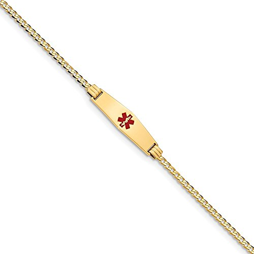14k Yellow Gold Medical Alert Soft Red Enamel Curb Link Id Bracelet 7 Inch Fine Jewelry Gifts For Women For Her