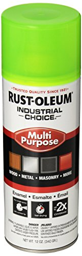 Rust-Oleum 1642830 Fluorescent Yellow 1600 System General Purpose Enamel Spray Paint, 16 fl. oz. container, 12 oz. weight fill, Can (Pack of 6)