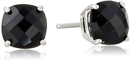 (Sterling Silver Cushion-Cut Checkerboard Onyx Stud Earrings (6mm))