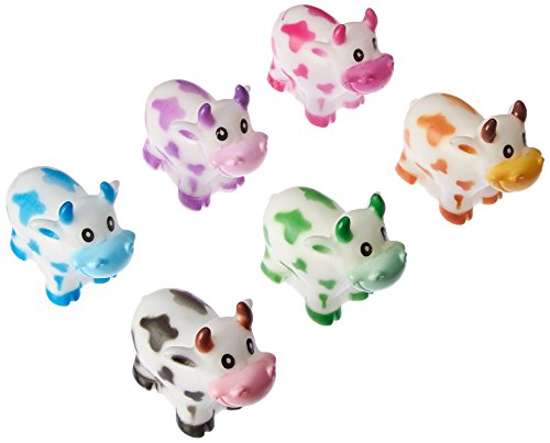 Cow Toy (Rhode Island Novelty 12 Pack Colorful Two Inch Rubber Cows (PARUBCO) Birthday Party Goody Bag Squirt Cow Figures)