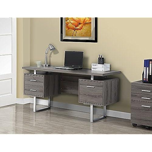 Monarch Specialties Dark Taupe Reclaimed Look Silver Metal Office Desk 60 Inch