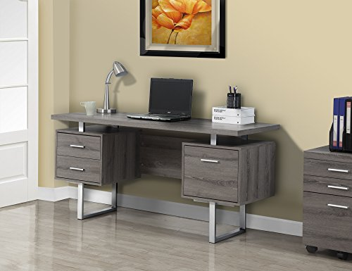 Monarch Specialties Dark Taupe Reclaimed-Look/Silver Metal Office Desk, 60-Inch by Monarch Specialties