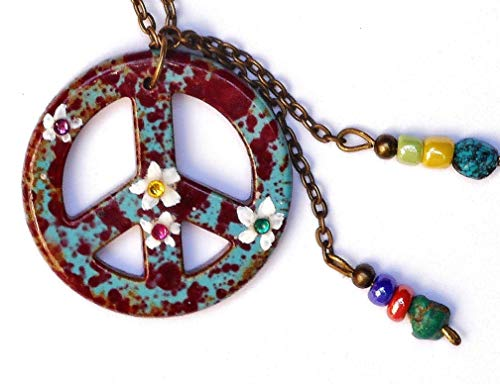 Multicolor Colorful Hippie Peace Sign Necklace with Turquoise Beads and Swarovski Crystal Rhinestones