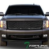 07 silverado black grill - Topline Autopart Glossy Black Mesh Front Hood Bumper Grill Grille Cover Conversion For 07-13 Chevy Silverado 1500