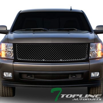 Topline Autopart Glossy Black Mesh Front Hood Bumper Grill Grille Cover Conversion For 07-13 Chevy Silverado (Chevy Silverado Vertical Grille)