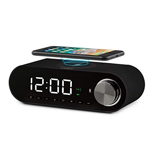 COBY Digital LED Alarm Clock Built In 10W HD Bluetooth Speakers FM Radio QI Certified Fast Wireless Charger for iPhone, Samsung and More,USB port Battery Backup Aux In, Dimmer for Bedroom, Office Desk (Bluetooth Digital Alarm Clock)
