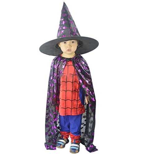 (Auwer- Childrens' Halloween Costume Toddlers Kids Halloween Costumes, Wizard Witch Cloak Cape Robe+Hat Set (M-47.2