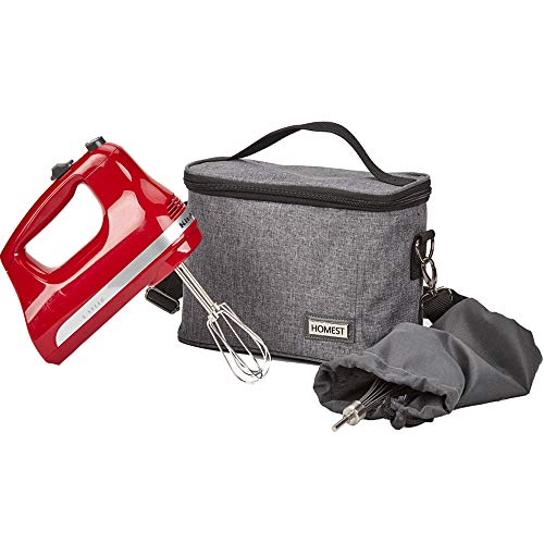 HOMEST Hand Mixer Storage Bag Compatible with Kitchenaid KHM512CL, KHM926CA, These Travel Tote Bag Have Adjustable Shoulder Strap for Easy Carrying, Grey (Patent Pending)