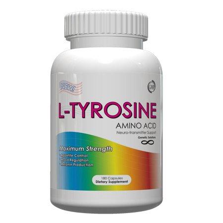 L-Tyrosine 500 mg-amino soutien neurotransmetteur acide pour diminuer l'appétit naturel et aide à lutter contre la dépression naturellement, 180 Capsules