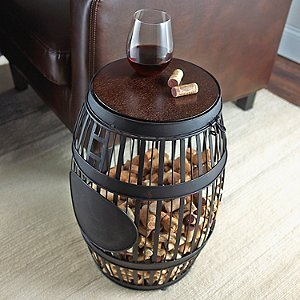 Wine Enthusiast Barrel Cork Catcher Accent Table
