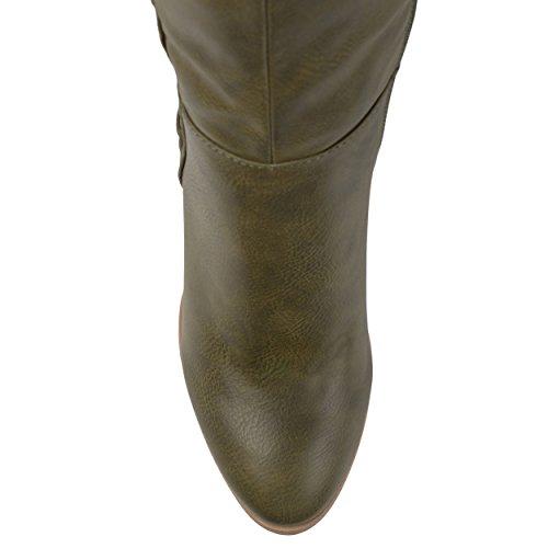 Journee Collectie Dames Regular En Wide Calf Faux Lace-up Noodlijdende Over-the-knee Laarzen Olijf