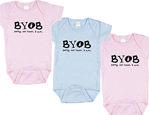 - Baby Gift Set for Girl/Boy/Girl Triplets (Includes 3 Bodysuits - Party Our Room, size 6-12 mo)