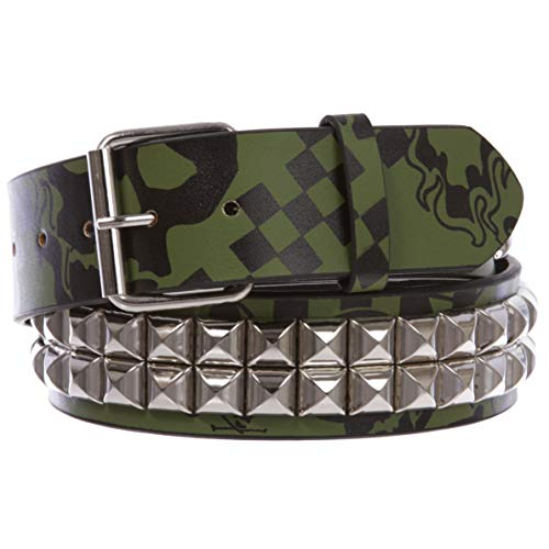 Pyramid Stud Cross - Snap On Art work Skull Cross Bone Tattoo Print Punk Rock Silver Star Studded Leather Belt, Green/Black | M/L - 36