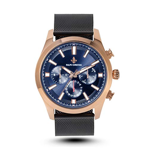 RALPH CHRISTIAN Men's Luxury Watch 18K Rose Gold & Blue Timepiece - Milan - Quartz Movement, Dual Time, Analog Dial, Wrist Watch & Waterproof with Mesh Band (Best Affordable Luxury Watches)