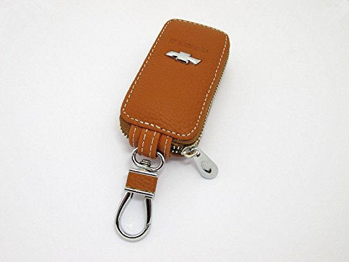 CHAMPLED Cowhide leather Car Key shell Holder Keychain Ring Case Bag Fit For CHEVROLET Brown Auto (Auto Ring Key Leather)