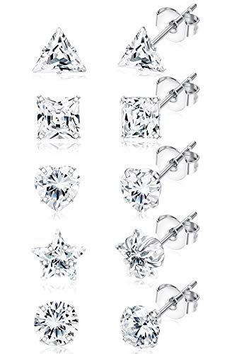 JOERICA 5 Pairs Stainless Steel CZ Stud Earrings for Women Girls Circle Square Star Heart Cubic Zirconia Silver Stud Earrings Set 4-6MM