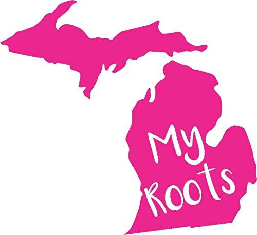 Barking Sand Designs Michigan My Roots Pink - Die Cut Vinyl Window Decal/Sticker for Car/Truck 6
