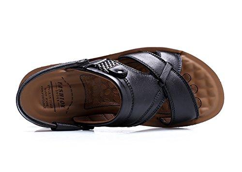 Leather No Shoes Slipper Beach Town Black 66 Men's Sandals WYz6pa