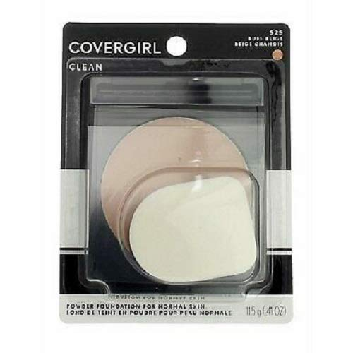 COVERGIRL Clean Powder Foundation, Buff Beige 525, 0.41 Ounce (Packaging May Vary) Hypoallergenic Powder Foundation with Mirrored Compact ()