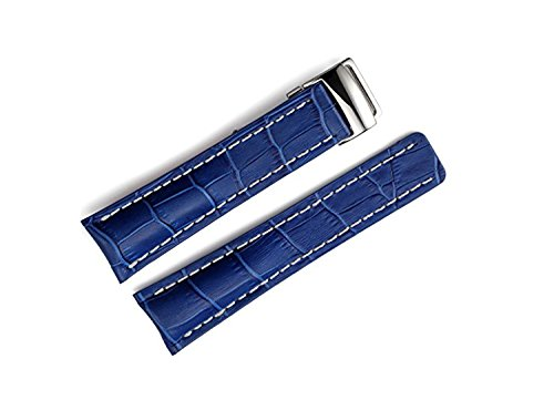- 22mm/24mm Leather Strap Watch Band Deployment Clasp For Breitling Navitimer Transocean BA57 A193701 760P2 (22mm, Blue)