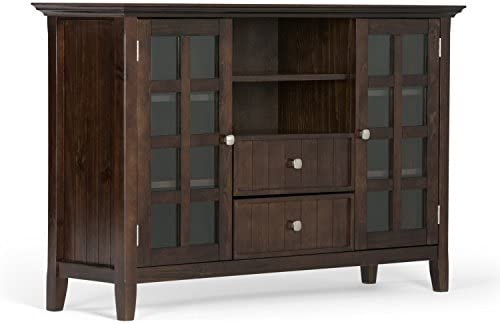 """SIMPLIHOME Acadian SOLID WOOD Universal Tall TV Media Stand, 53 inch Wide, Farmhouse Rustic, Living Room Storage Shelves and Cabinets, for Flat Screen TVs as much as 60"""", Tobacco Brown"""