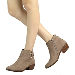 TOETOS Women's Boston-03 Taupe Block Heel Side Zipper Ankle Booties Size 9.5 M US