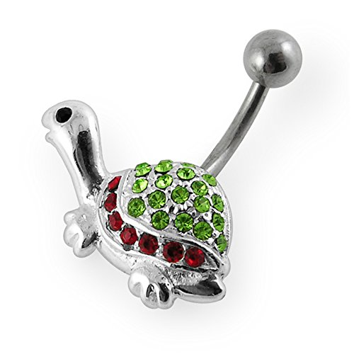 Fancy Turtle Charm (Light Green Gemstone Fancy Tiny Turtle 925 Sterling Silver with Stainless Steel Belly Button Rings)