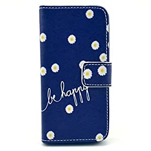 GJY Be Happy Daisy Design PU Leather Case with Stand and Card Slot and Money Holder for iPhone 5/5S
