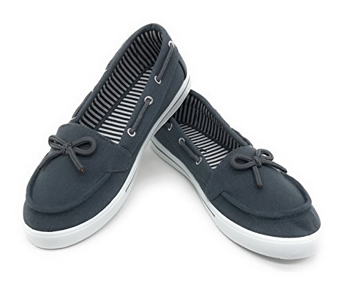 Blue Berry EASY21 Women Canvas Round Toe Slip On Flat Sneaker Oxford Boat Shoe Grey