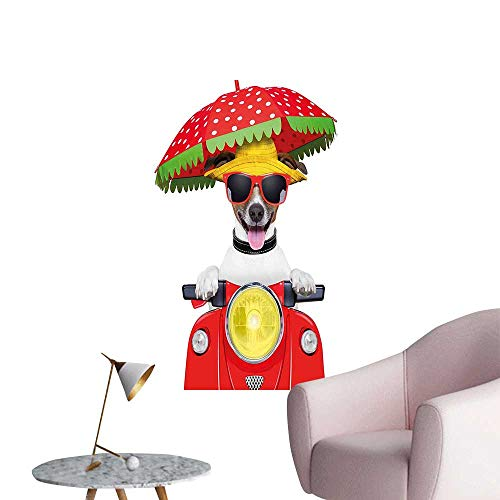 Modern Painting with a Hat and Sunglasses Driving Motorcycle Under an Umbrella Funny Holiday Image Home Decoration,20