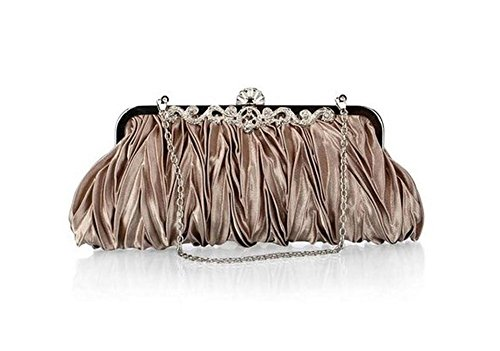 Bag Handbag Golden Shoulder Clutch Satin Detachable with Party Womens Strap Grey Chain Evening Purse Cocktail Hosaire Wedding ZwzIvqx4gx