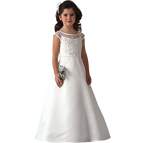 Suiun Dress Birthday Parties Dress Holy First Communion Dress Flower Girls Tulle Lace Dress(White (First Holy Communion Dress)
