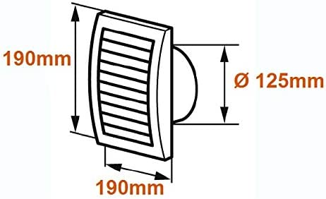 Cr/ème 190 x 190 mm Moustiquaire en plastique ABS Avec r/égulateur coulissant Grille da/ération de 125 mm de diam/ètre