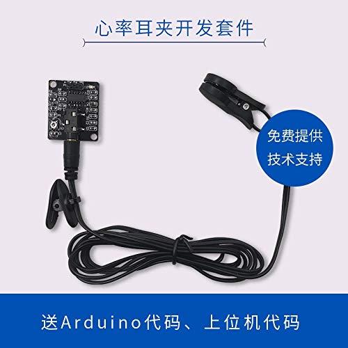 Lysee Heart rate ear clip development kit ECG sensor ECG ECG measurement module Supports microcontroller development - (Color: 1)