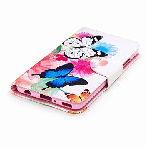 Yiizy Huawei P10 Plus Custodia Cover, Farfalla Design Sottile Flip Portafoglio PU Pelle Cuoio Copertura Shell Case Slot Schede Cavalletto Stile Libro Bumper Protettivo Borsa
