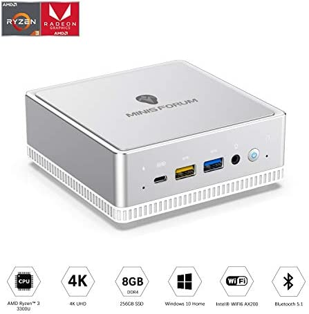 UM300 Mini PC AMD Ryzen 3 3300U Windows 10 Mini PC Desktop Computer, Radeon Vega 6 Graphics,8GB DDR4 256GB SSD,HDMI2.0/DP/USB-C Triple 4K@60Hz Output,with1000M LAN Intel WIFI6 AX200 BT5.1