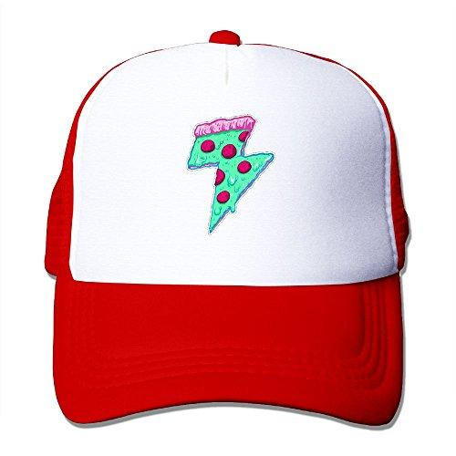 Hizhogqul Thunder Pizza Trucker Hat Unisex Adult Baseball Mesh Cap Red ()
